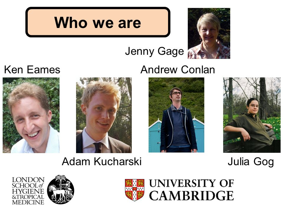 Jenny Gage Who we are Julia Gog Andrew Conlan Adam Kucharski Ken Eames