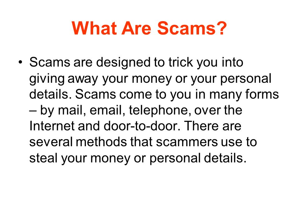 What Are Scams.