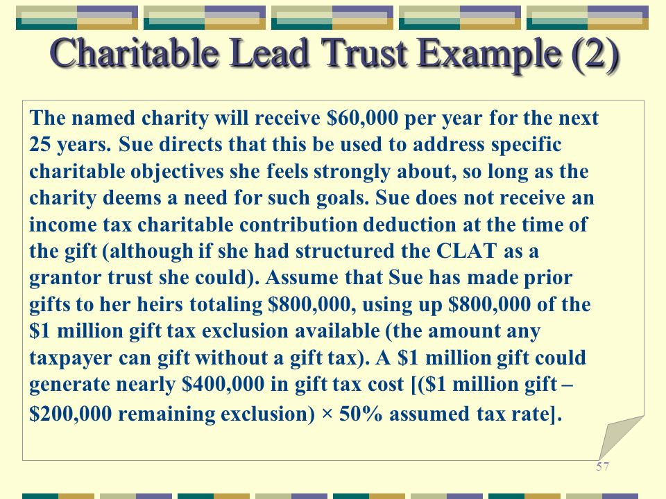 57 Charitable Lead Trust Example (2) The named charity will receive $60,000 per year for the next 25 years. Sue directs that this be used to address s