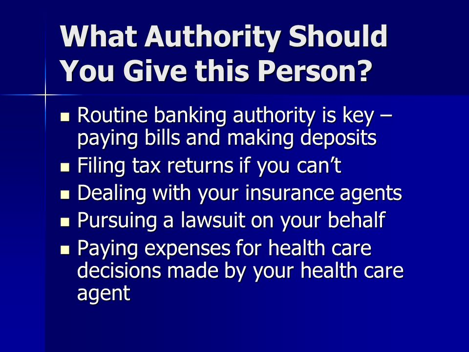 What Authority Should You Give this Person.