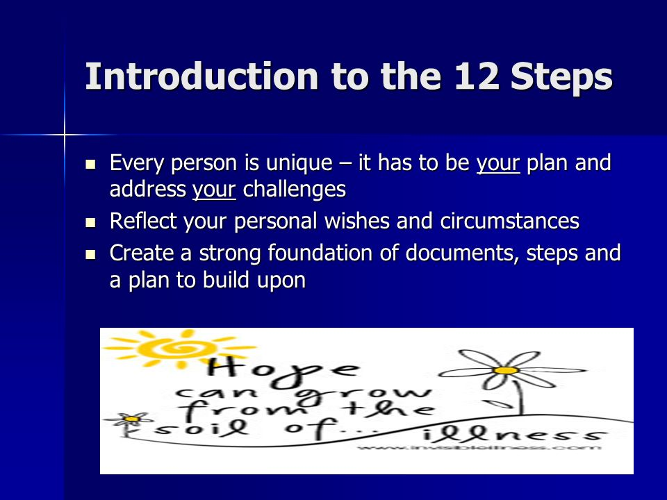Introduction to the 12 Steps Every person is unique – it has to be your plan and address your challenges Every person is unique – it has to be your plan and address your challenges Reflect your personal wishes and circumstances Reflect your personal wishes and circumstances Create a strong foundation of documents, steps and a plan to build upon Create a strong foundation of documents, steps and a plan to build upon
