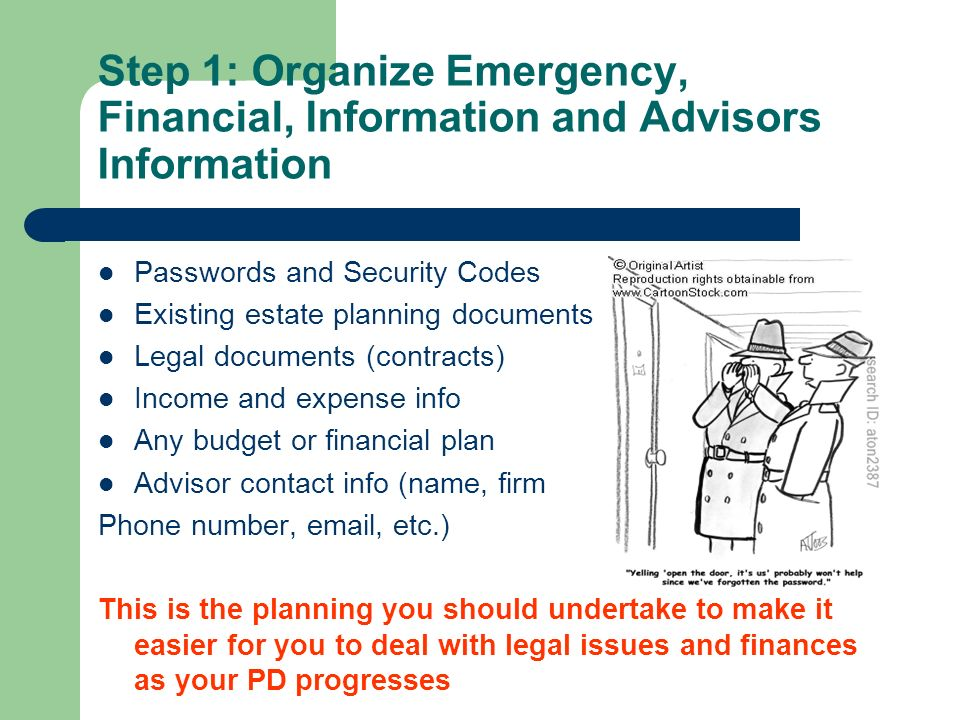 Step 1: Organize Emergency, Financial, Information and Advisors Information Passwords and Security Codes Existing estate planning documents Legal documents (contracts) Income and expense info Any budget or financial plan Advisor contact info (name, firm Phone number,  , etc.) This is the planning you should undertake to make it easier for you to deal with legal issues and finances as your PD progresses