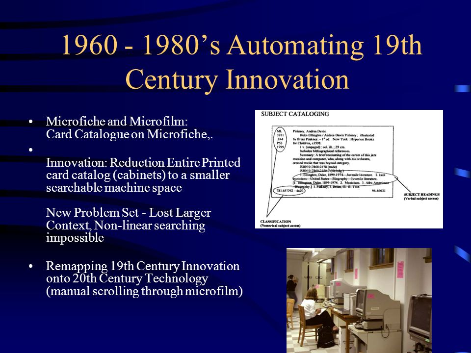 1960 - 1980s Automating 19th Century Innovation Microfiche and Microfilm: Card Catalogue on Microfiche,. Innovation: Reduction Entire Printed card cat