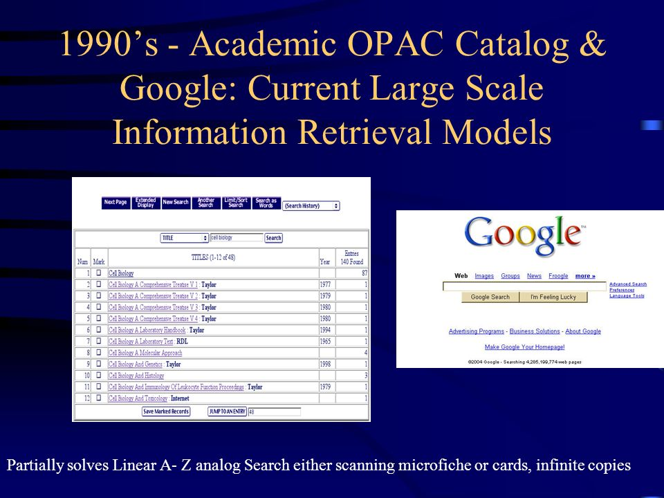 1990s - Academic OPAC Catalog & Google: Current Large Scale Information Retrieval Models Partially solves Linear A- Z analog Search either scanning mi