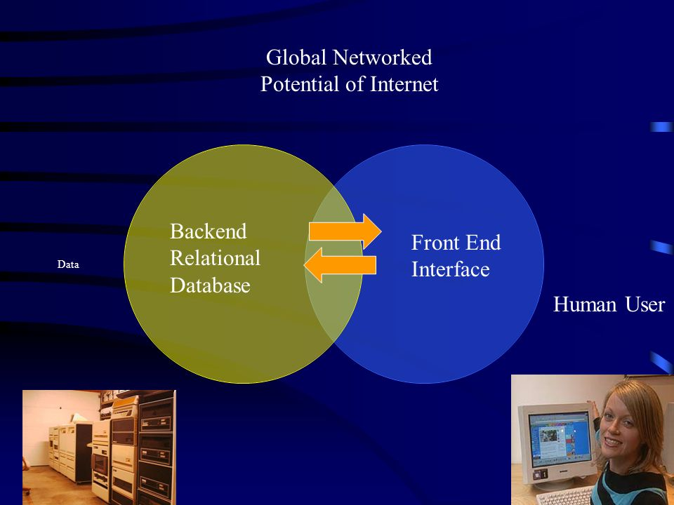 Data Backend Relational Database Front End Interface Human User Global Networked Potential of Internet