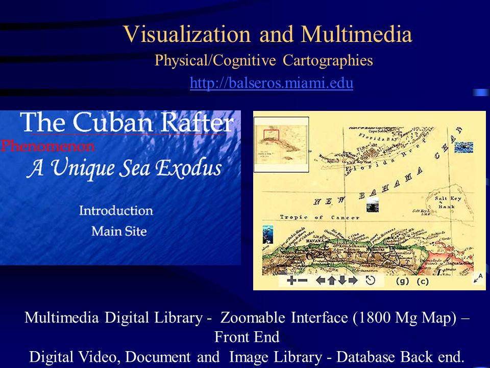 Visualization and Multimedia http://balseros.miami.edu Physical/Cognitive Cartographies Multimedia Digital Library - Zoomable Interface (1800 Mg Map)