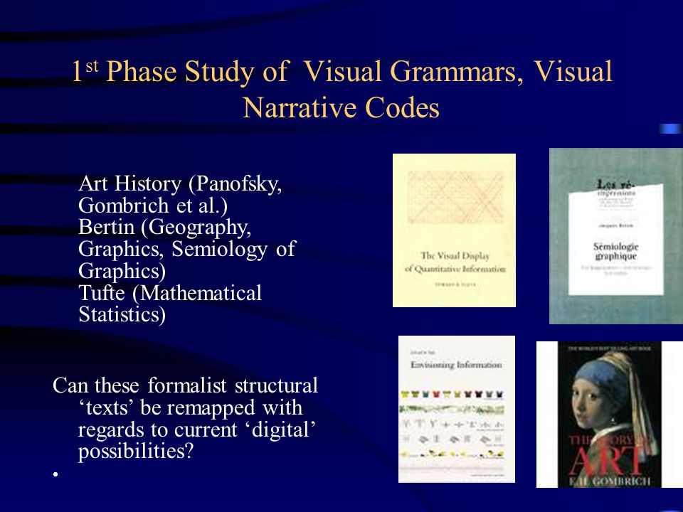1 st Phase Study of Visual Grammars, Visual Narrative Codes Art History (Panofsky, Gombrich et al.) Bertin (Geography, Graphics, Semiology of Graphics