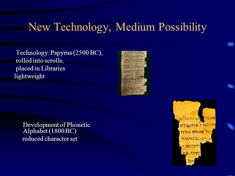 New Technology, Medium Possibility Technology: Papyrus (2500 BC), rolled into scrolls, placed in Libraries lightweight Development of Phonetic Alphabe