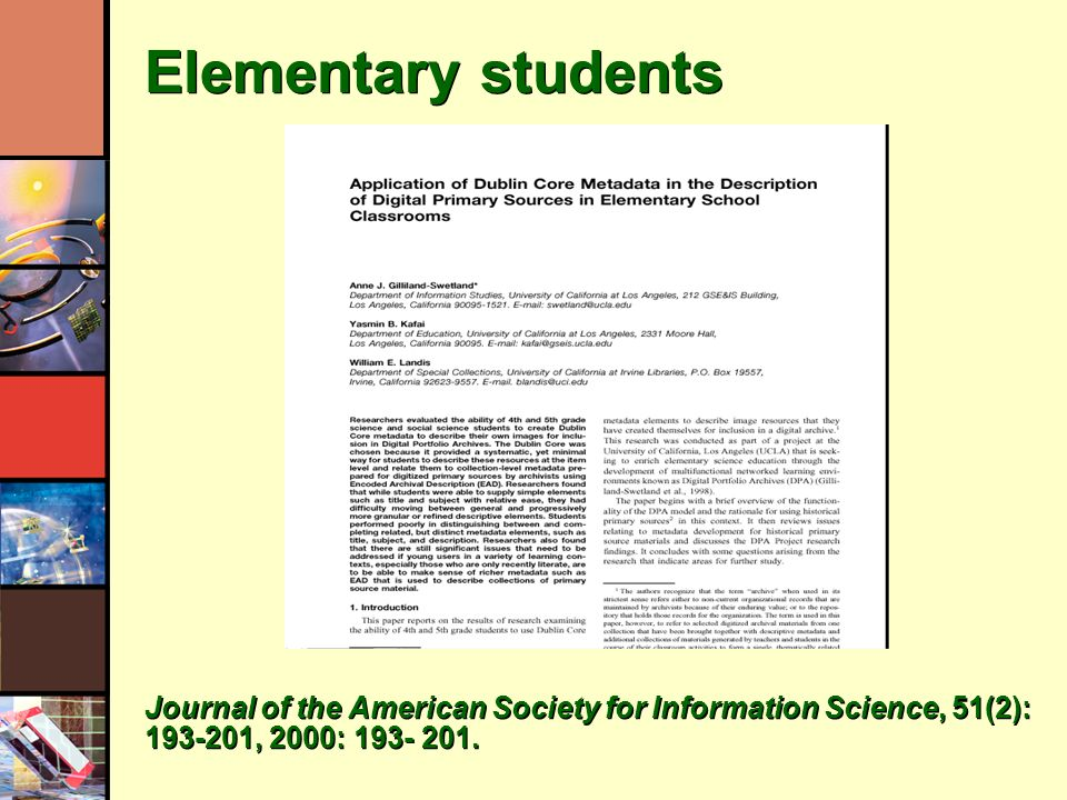 Elementary students Journal of the American Society for Information Science, 51(2): 193-201, 2000: 193- 201.