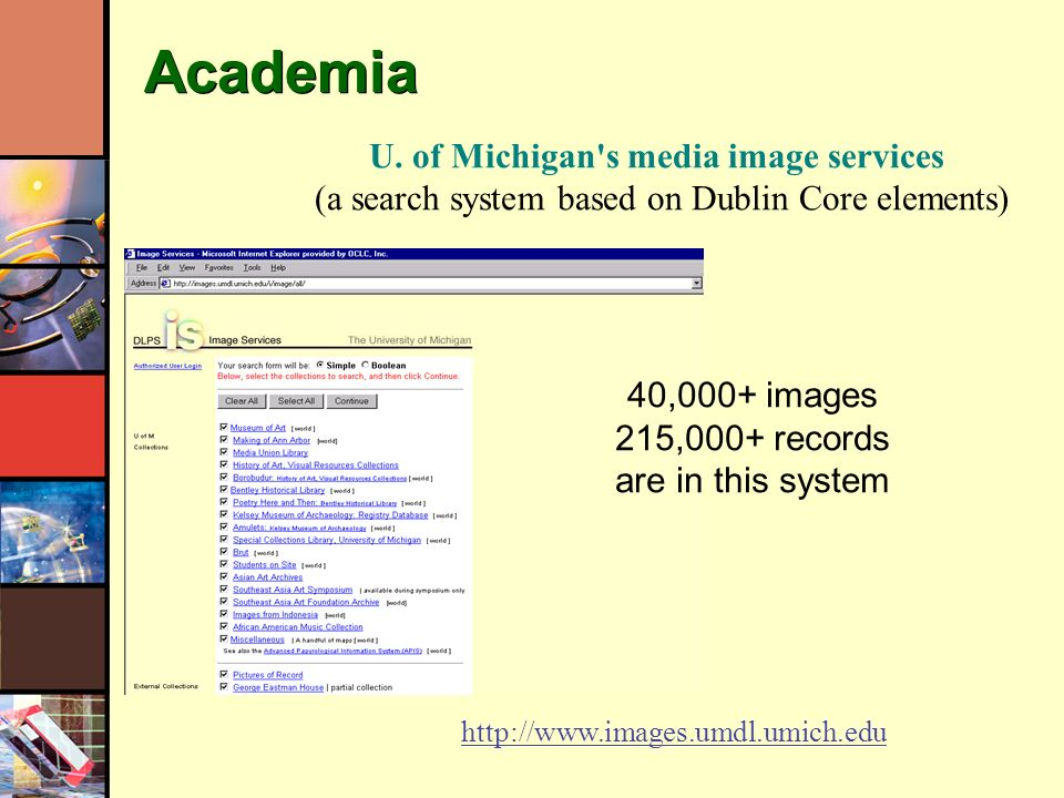 Academia 40,000+ images 215,000+ records are in this system U.