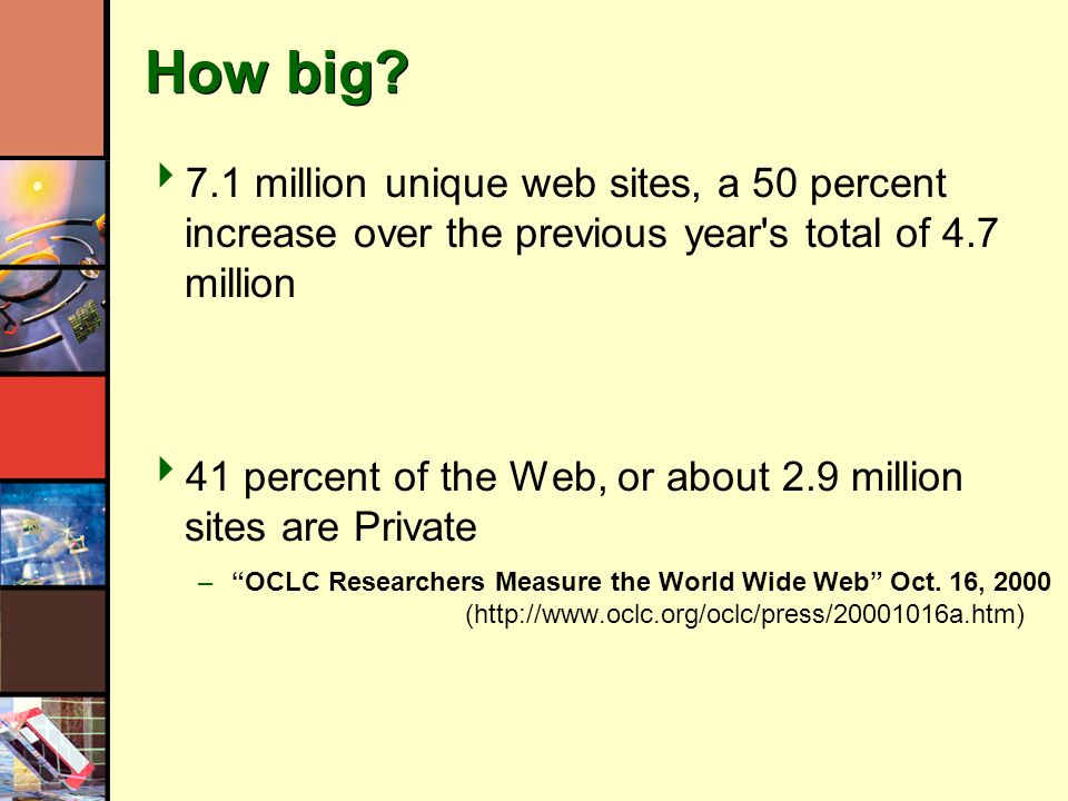 How big? 7.1 million unique web sites, a 50 percent increase over the previous year's total of 4.7 million 41 percent of the Web, or about 2.9 million