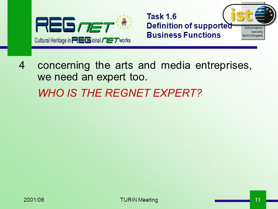 2001/06TURIN Meeting11 Task 1.6 Definition of supported Business Functions 4concerning the arts and media entreprises, we need an expert too.