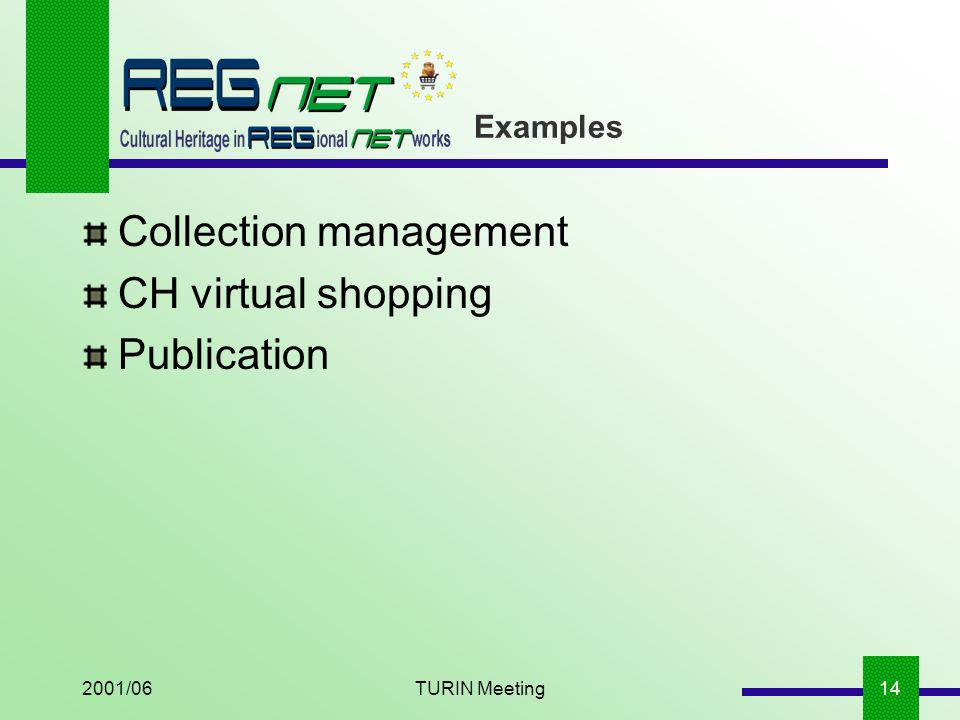2001/06TURIN Meeting14 Examples Collection management CH virtual shopping Publication