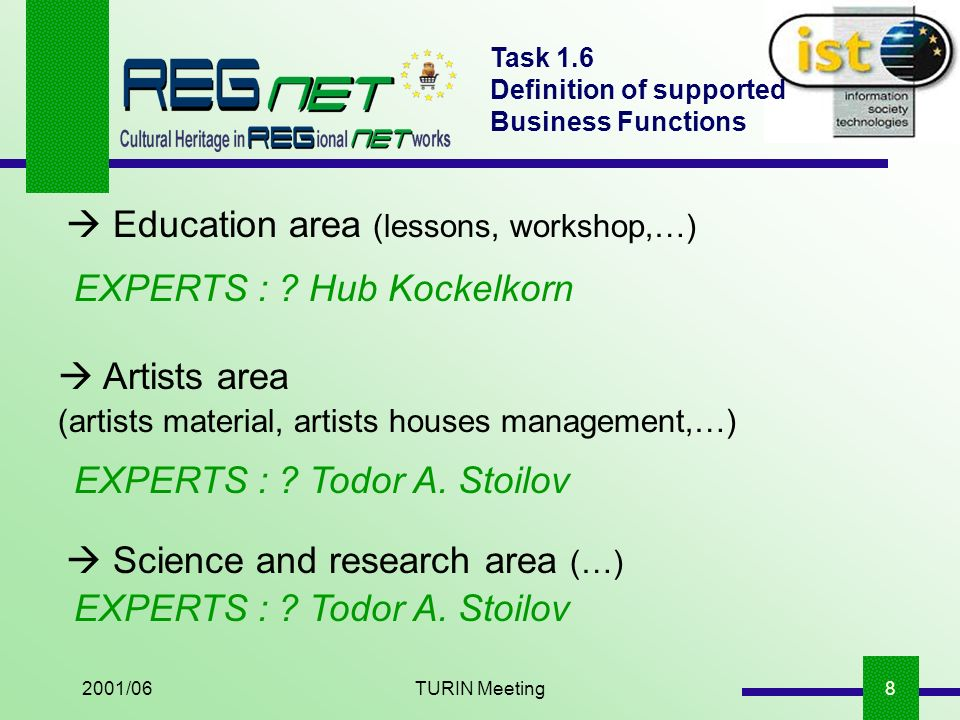 2001/06TURIN Meeting9 Task 1.6 Definition of supported Business Functions Recreational economics area (children workshop,…) EXPERTS : .