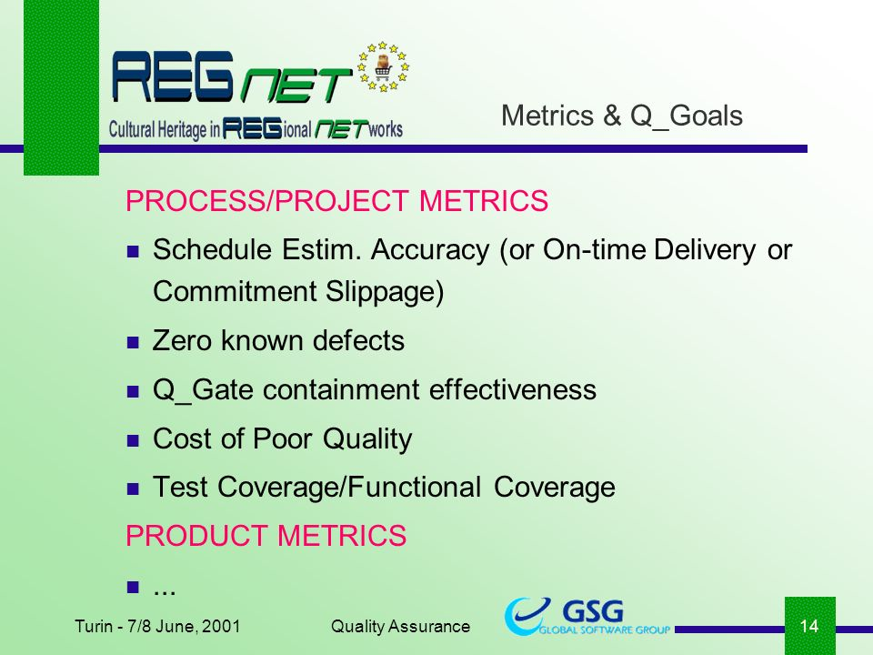 Turin - 7/8 June, 2001Quality Assurance14 Metrics & Q_Goals PROCESS/PROJECT METRICS Schedule Estim.