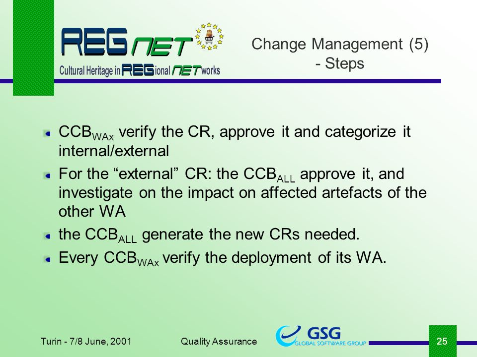 Turin - 7/8 June, 2001Quality Assurance25 CCB WAx verify the CR, approve it and categorize it internal/external For the external CR: the CCB ALL approve it, and investigate on the impact on affected artefacts of the other WA the CCB ALL generate the new CRs needed.
