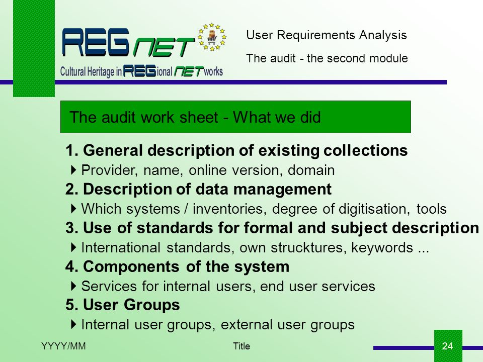 YYYY/MMTitle24 The audit - the second module The audit work sheet - What we did User Requirements Analysis 1. General description of existing collecti