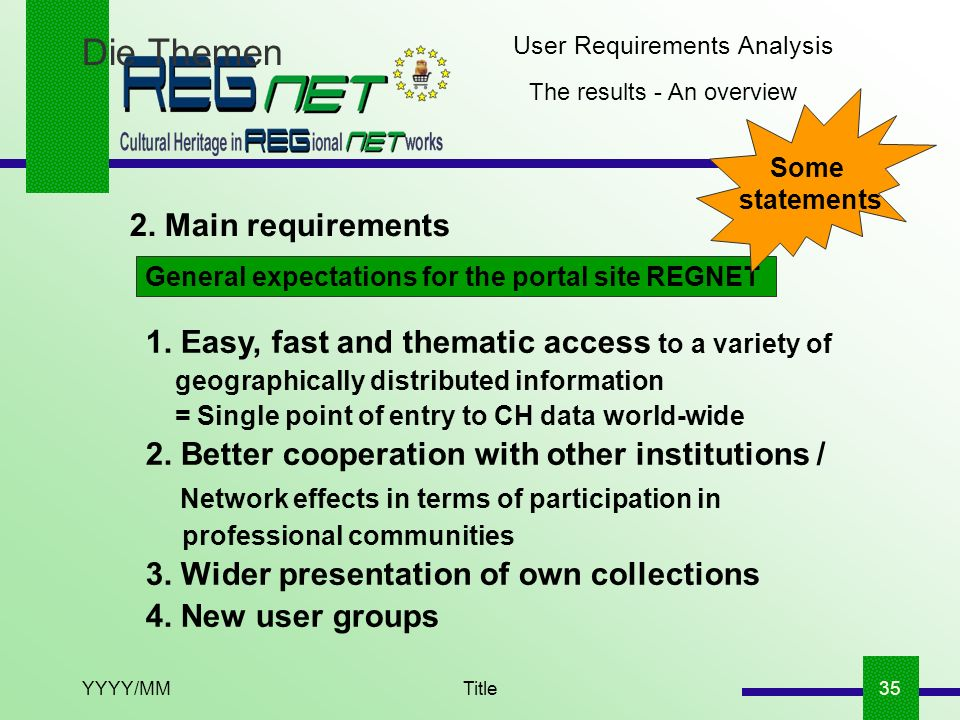 YYYY/MMTitle35 Die Themen The results - An overview 2. Main requirements User Requirements Analysis General expectations for the portal site REGNET 1.
