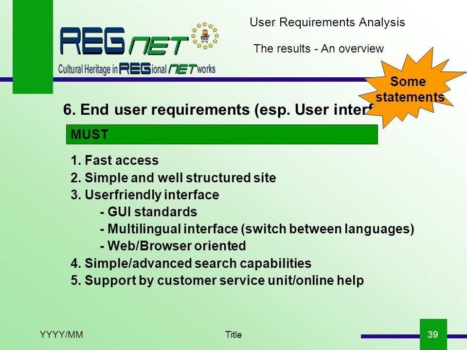 YYYY/MMTitle39 The results - An overview 6. End user requirements (esp. User interface) User Requirements Analysis 1. Fast access 2. Simple and well s