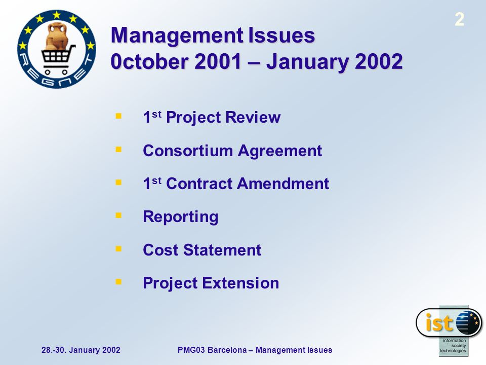 28.-30. January 2002PMG03 Barcelona – Management Issues 2 Management Issues 0ctober 2001 – January 2002 1 st Project Review Consortium Agreement 1 st