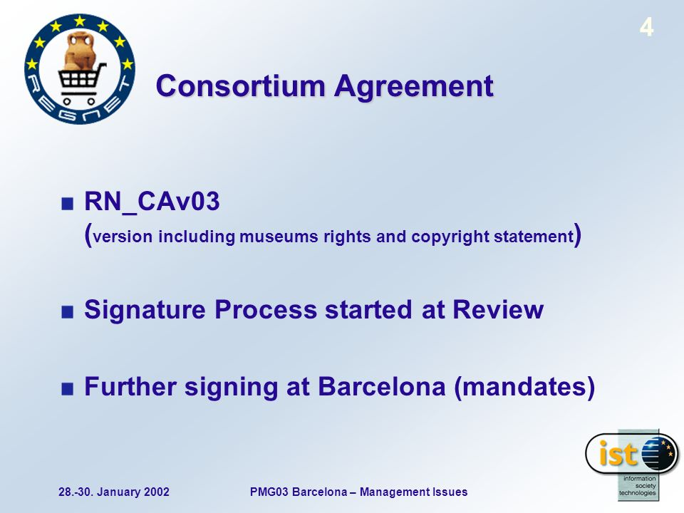 28.-30. January 2002PMG03 Barcelona – Management Issues 4 Consortium Agreement RN_CAv03 ( version including museums rights and copyright statement ) S