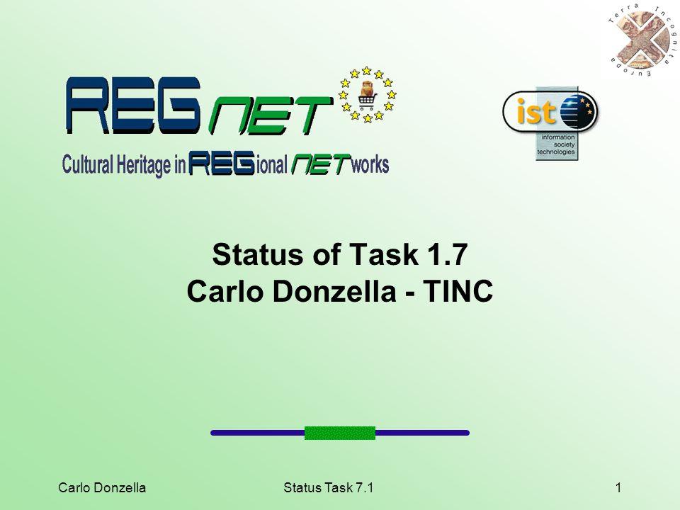 Carlo DonzellaStatus Task 7.11 Status of Task 1.7 Carlo Donzella - TINC