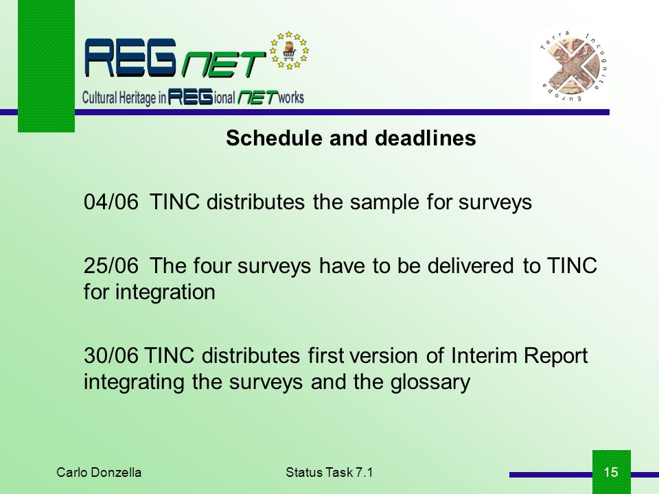 Carlo DonzellaStatus Task 7.115 Schedule and deadlines 04/06TINC distributes the sample for surveys 25/06The four surveys have to be delivered to TINC for integration 30/06 TINC distributes first version of Interim Report integrating the surveys and the glossary