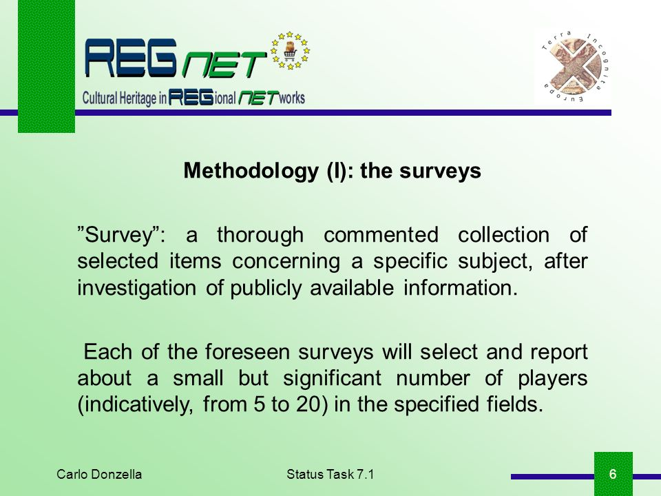 Carlo DonzellaStatus Task 7.16 Methodology (I): the surveys Survey: a thorough commented collection of selected items concerning a specific subject, after investigation of publicly available information.