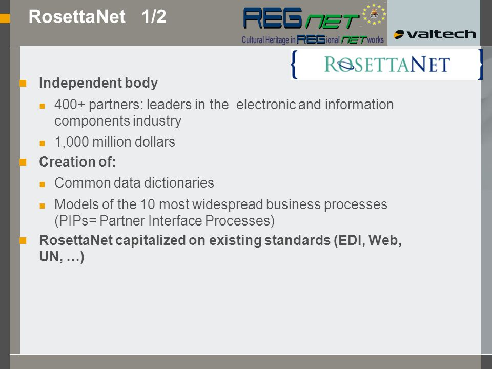 Approaches RosettaNet ebXML Web Services : SOAP + WSDL + UDDI