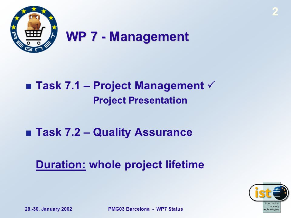 28.-30. January 2002PMG03 Barcelona - WP7 Status 2 WP 7 - Management Task 7.1 – Project Management Project Presentation Task 7.2 – Quality Assurance D