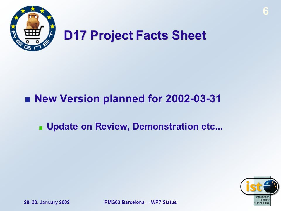 28.-30. January 2002PMG03 Barcelona - WP7 Status 6 D17 Project Facts Sheet New Version planned for 2002-03-31 Update on Review, Demonstration etc...
