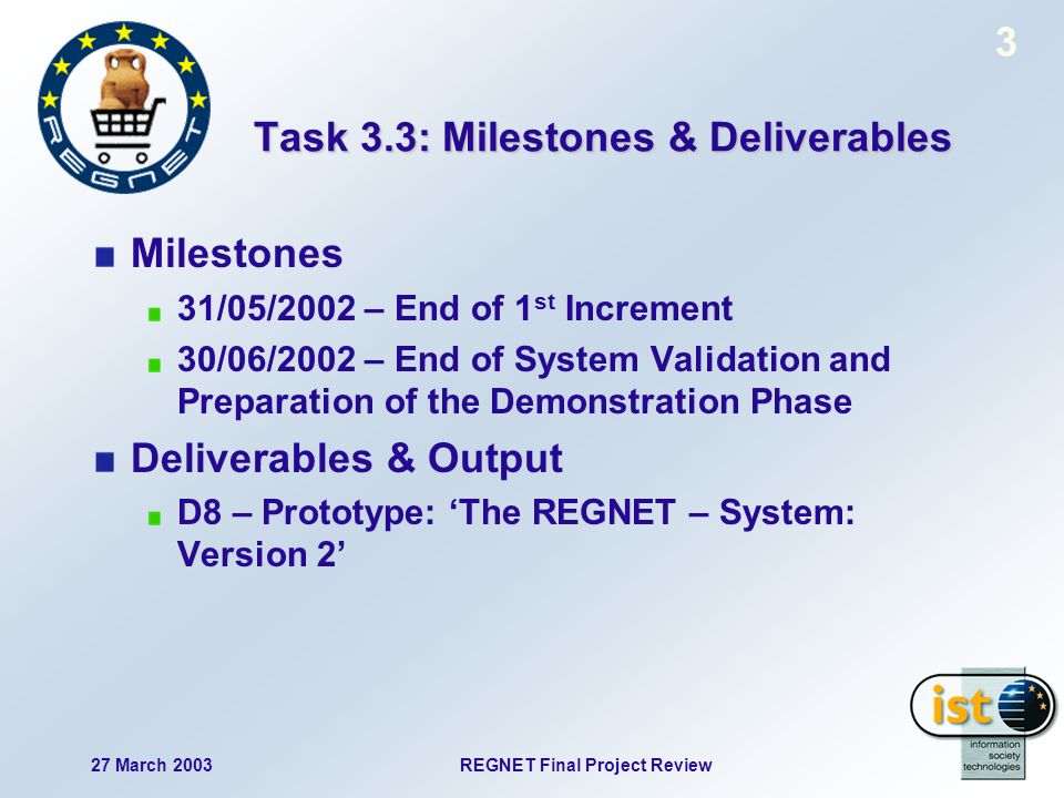 27 March 2003REGNET Final Project Review 3 Task 3.3: Milestones & Deliverables Milestones 31/05/2002 – End of 1 st Increment 30/06/2002 – End of System Validation and Preparation of the Demonstration Phase Deliverables & Output D8 – Prototype: The REGNET – System: Version 2