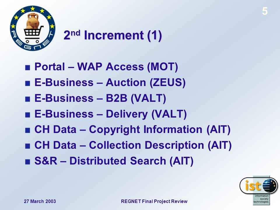 27 March 2003REGNET Final Project Review 5 2 nd Increment (1) Portal – WAP Access (MOT) E-Business – Auction (ZEUS) E-Business – B2B (VALT) E-Business – Delivery (VALT) CH Data – Copyright Information (AIT) CH Data – Collection Description (AIT) S&R – Distributed Search (AIT)