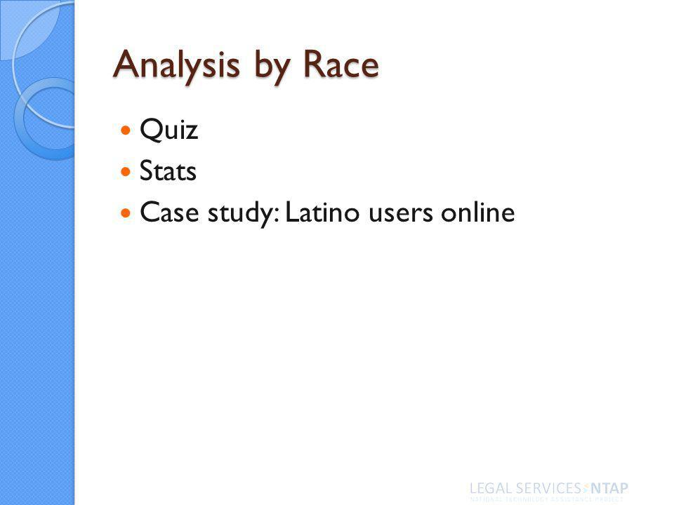 Analysis by Race Quiz Stats Case study: Latino users online
