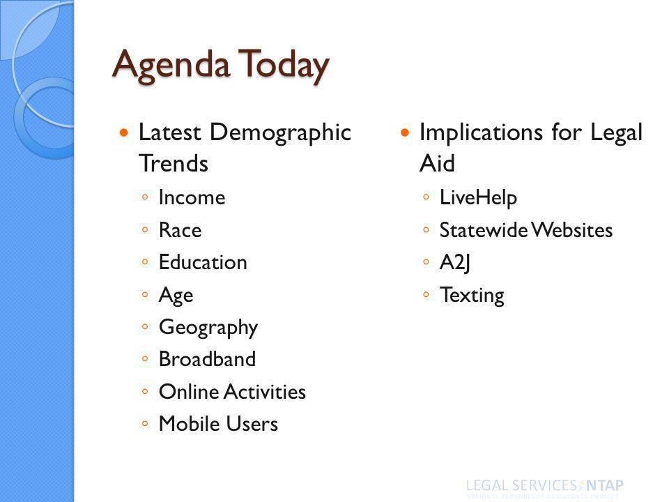Agenda Today Latest Demographic Trends Income Race Education Age Geography Broadband Online Activities Mobile Users Implications for Legal Aid LiveHelp Statewide Websites A2J Texting