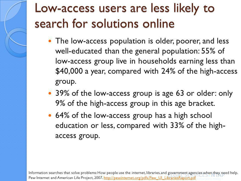 Low-access users are less likely to search for solutions online The low-access population is older, poorer, and less well-educated than the general population: 55% of low-access group live in households earning less than $40,000 a year, compared with 24% of the high-access group.