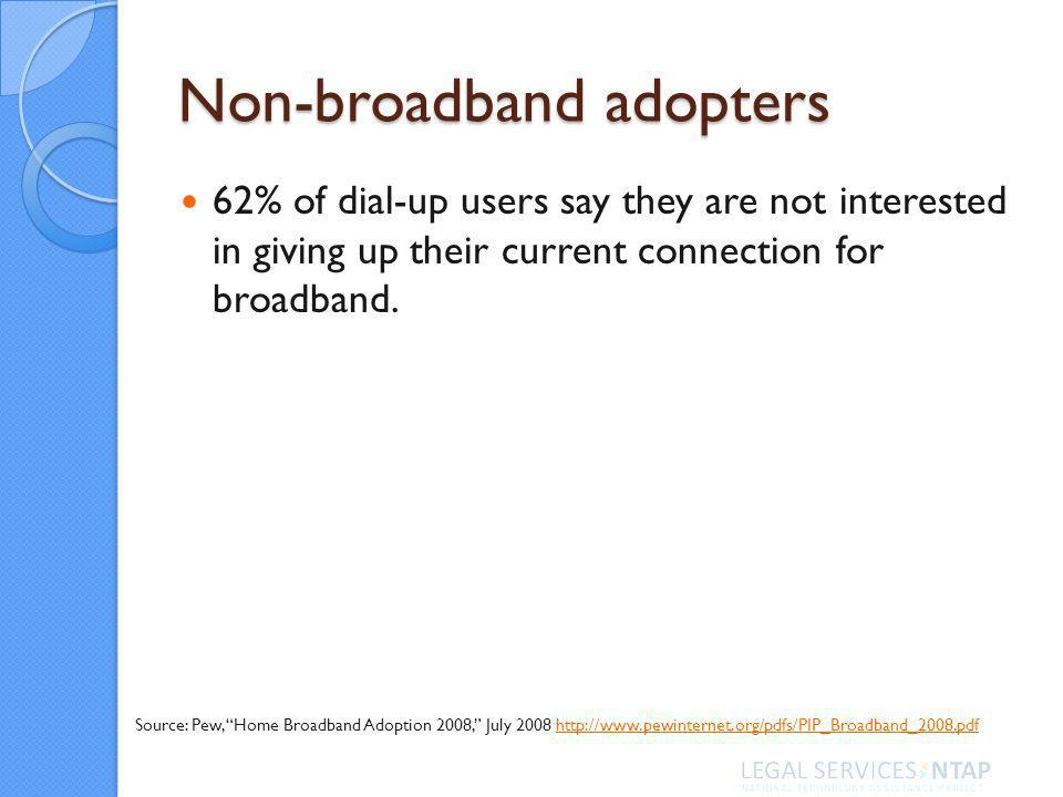 Non-broadband adopters 62% of dial-up users say they are not interested in giving up their current connection for broadband.