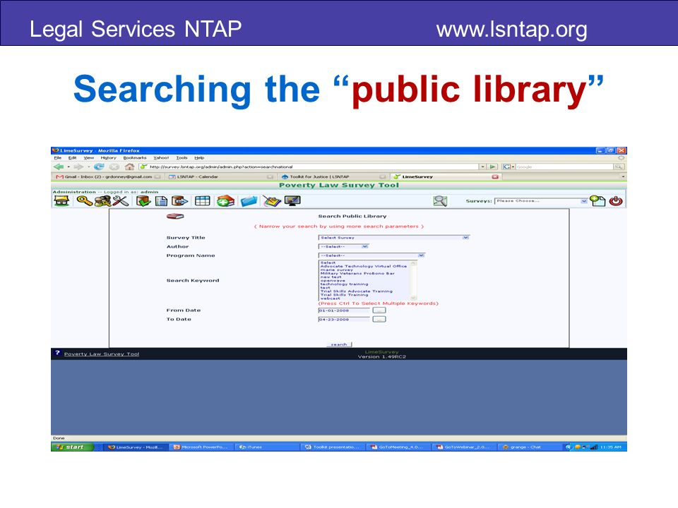Legal Services NTAP www.lsntap.org Searching the public library
