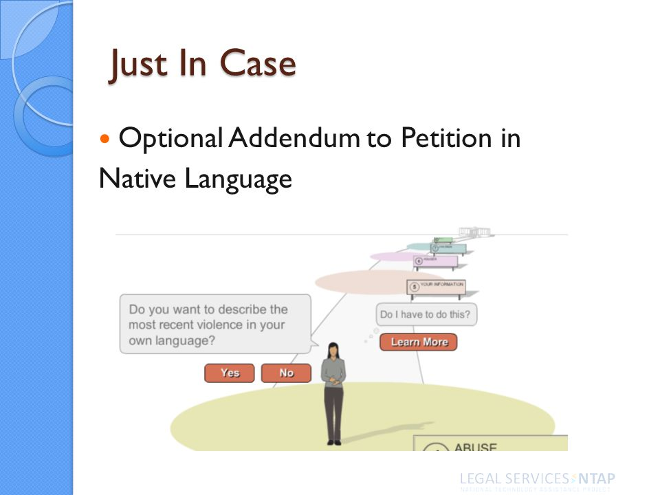 Just In Case Optional Addendum to Petition in Native Language