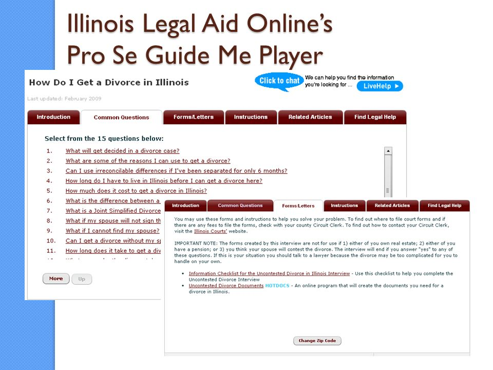 Illinois Legal Aid Onlines Pro Se Guide Me Player