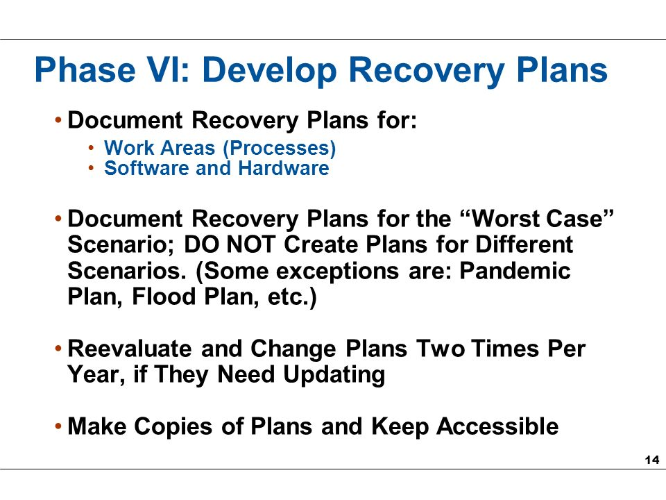 14 Phase VI: Develop Recovery Plans Document Recovery Plans for: Work Areas (Processes) Software and Hardware Document Recovery Plans for the Worst Case Scenario; DO NOT Create Plans for Different Scenarios.
