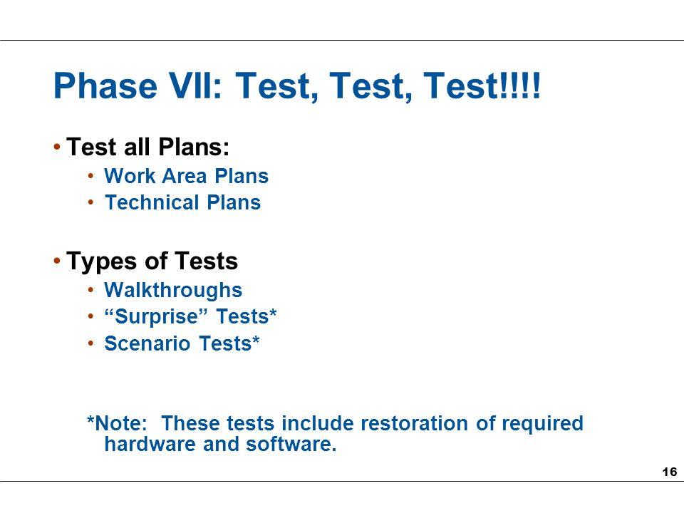 16 Phase VII: Test, Test, Test!!!.