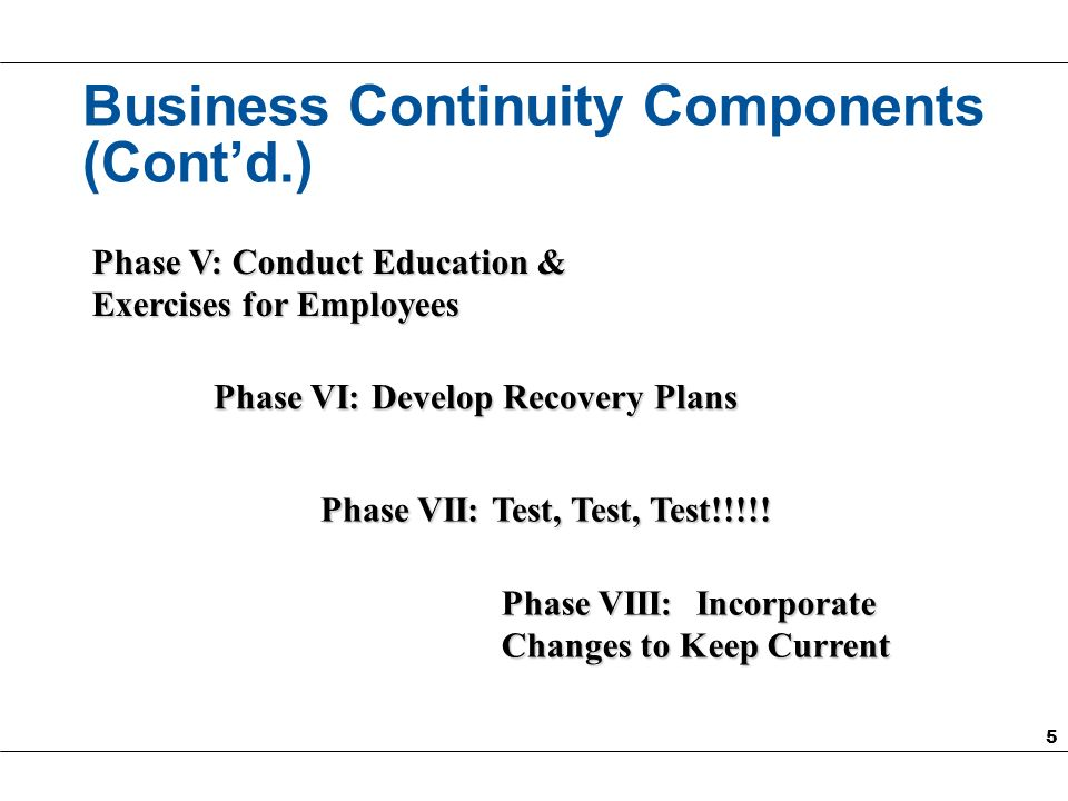 6 Phase I: Risk Assessment Identify and Evaluate Risks (such as single electrical feed, exposure to chemical spills, etc.) to an Organization: Those Required for a Company to Continue Operations Each Risk Evaluated for its Probability of Occurring Define Existing Controls to Mitigate Risks Recommend New/Enhanced Controls Evaluate Cost of Controls