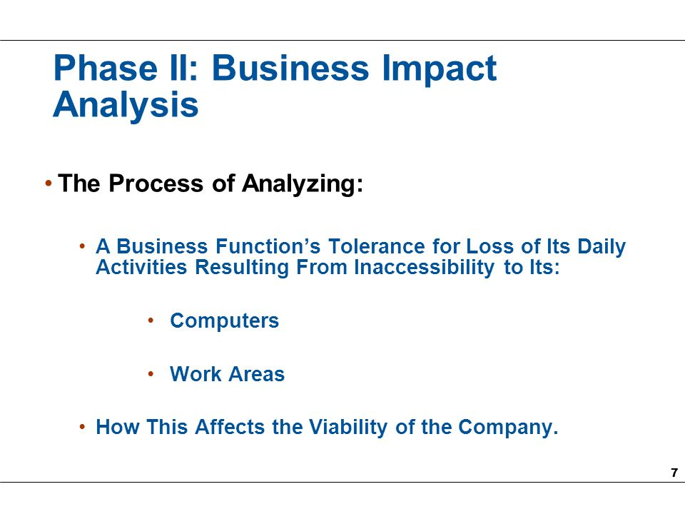 8 Phase II: Business Impact Analysis (Contd.) Establish Recovery Time Objectives (RTOs) for: Work Areas (Departments) Software Applications and Associated Hardware
