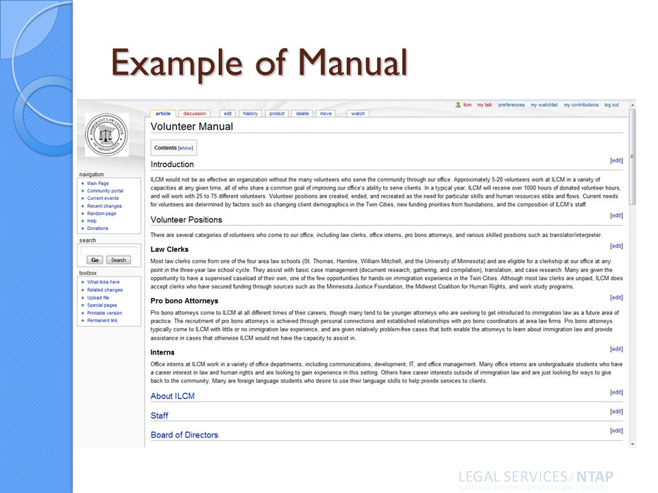 Example of Manual
