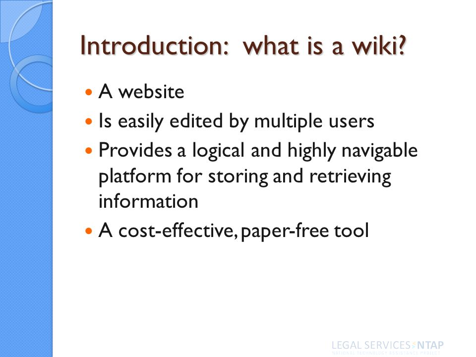 Introduction: what is a wiki.