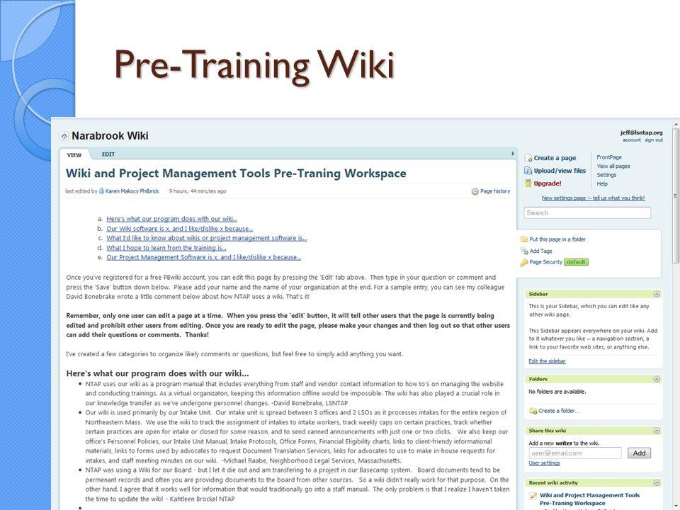 Pre-Training Wiki