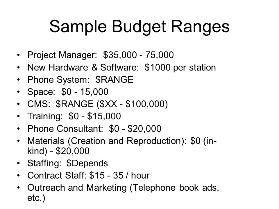 Sample Budget Ranges Project Manager: $35,000 - 75,000 New Hardware & Software: $1000 per station Phone System: $RANGE Space: $0 - 15,000 CMS: $RANGE ($XX - $100,000) Training: $0 - $15,000 Phone Consultant: $0 - $20,000 Materials (Creation and Reproduction): $0 (in- kind) - $20,000 Staffing: $Depends Contract Staff: $15 - 35 / hour Outreach and Marketing (Telephone book ads, etc.)