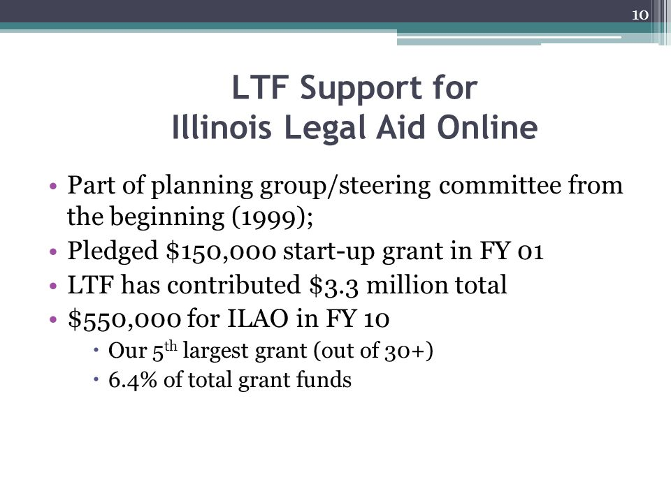 LTF Support for Illinois Legal Aid Online Part of planning group/steering committee from the beginning (1999); Pledged $150,000 start-up grant in FY 01 LTF has contributed $3.3 million total $550,000 for ILAO in FY 10 Our 5 th largest grant (out of 30+) 6.4% of total grant funds 10