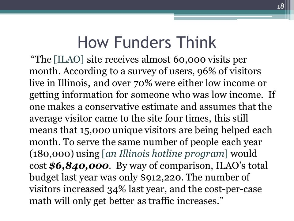 How Funders Think The [ILAO] site receives almost 60,000 visits per month.